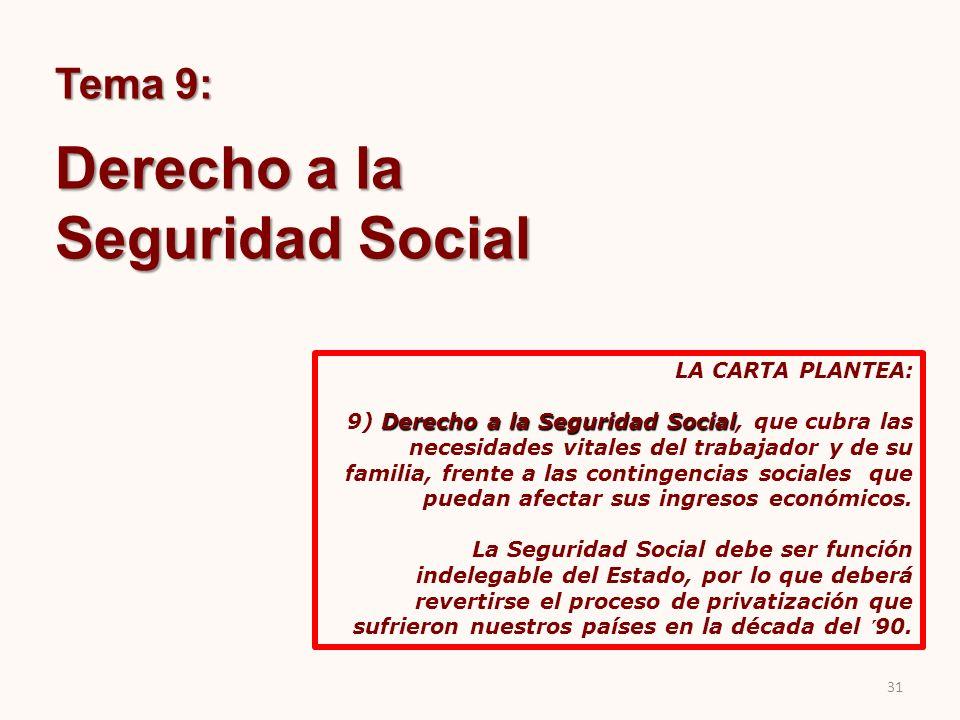 Tema 9: Derecho a la Seguridad Social LA CARTA PLANTEA: Derecho a la Seguridad Social 9) Derecho a la Seguridad Social, que cubra las necesidades vita
