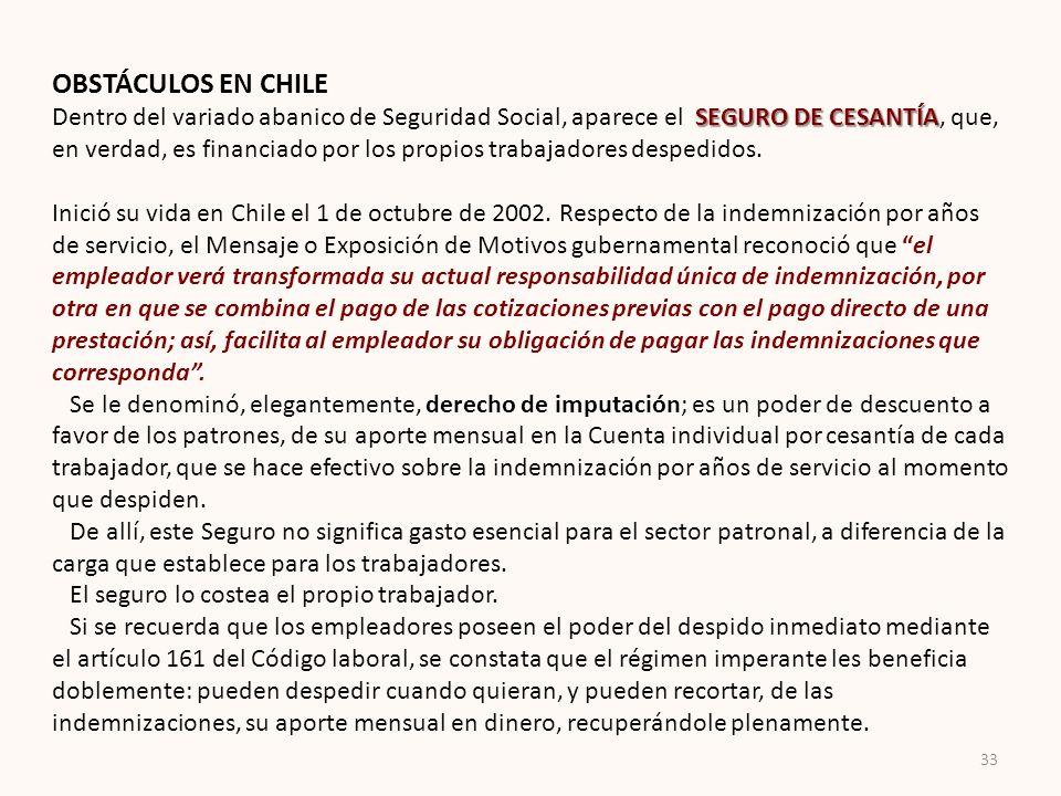 OBSTÁCULOS EN CHILE SEGURO DE CESANTÍA Dentro del variado abanico de Seguridad Social, aparece el SEGURO DE CESANTÍA, que, en verdad, es financiado po