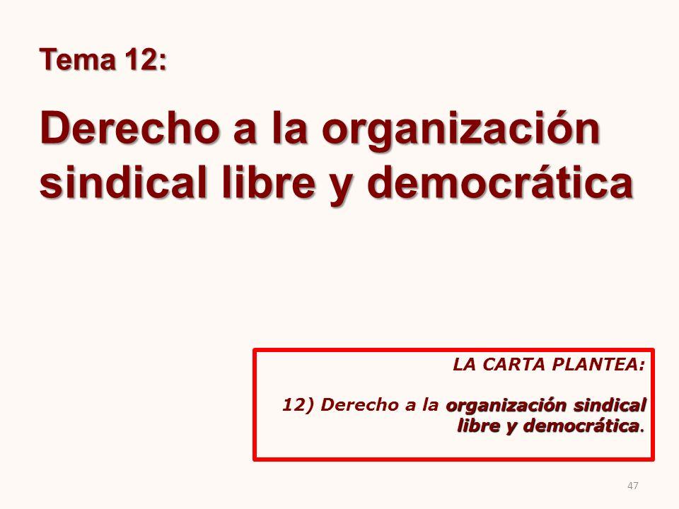Tema 12: Derecho a la organización sindical libre y democrática LA CARTA PLANTEA: organización sindical libre y democrática. 12) Derecho a la organiza