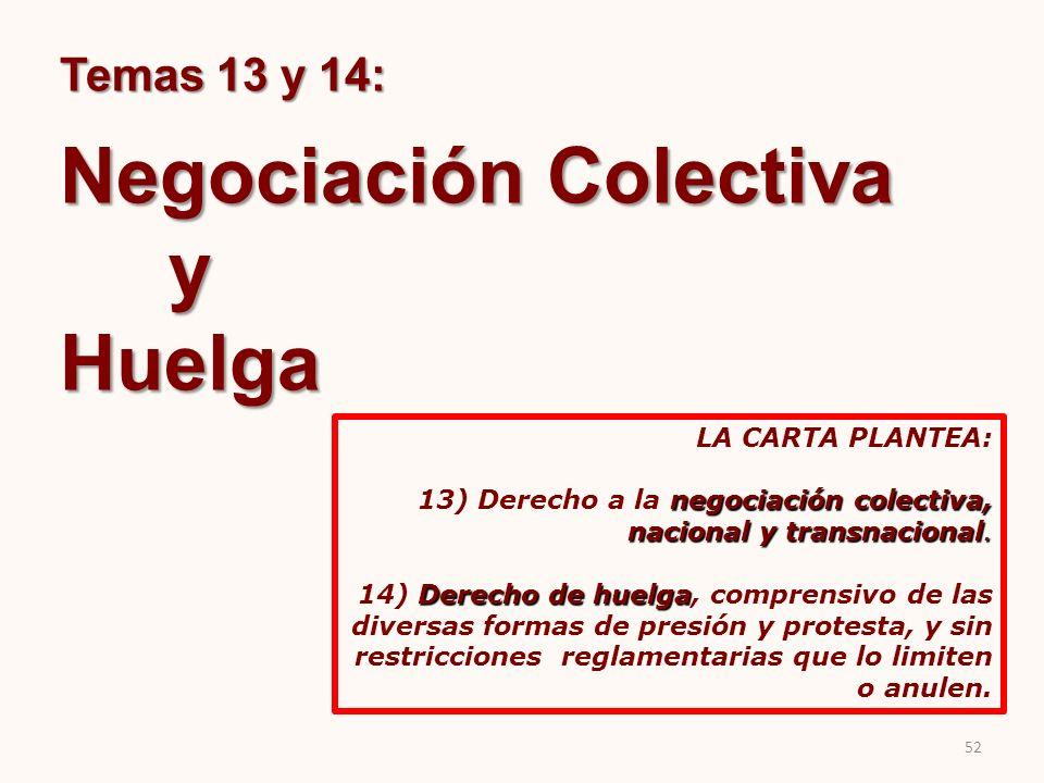 Temas 13 y 14: Negociación Colectiva yHuelga LA CARTA PLANTEA: negociación colectiva, nacional y transnacional. 13) Derecho a la negociación colectiva