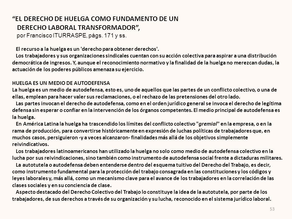 EL DERECHO DE HUELGA COMO FUNDAMENTO DE UN DERECHO LABORAL TRANSFORMADOR, por Francisco ITURRASPE, págs. 171 y ss. El recurso a la huelga es un 'derec