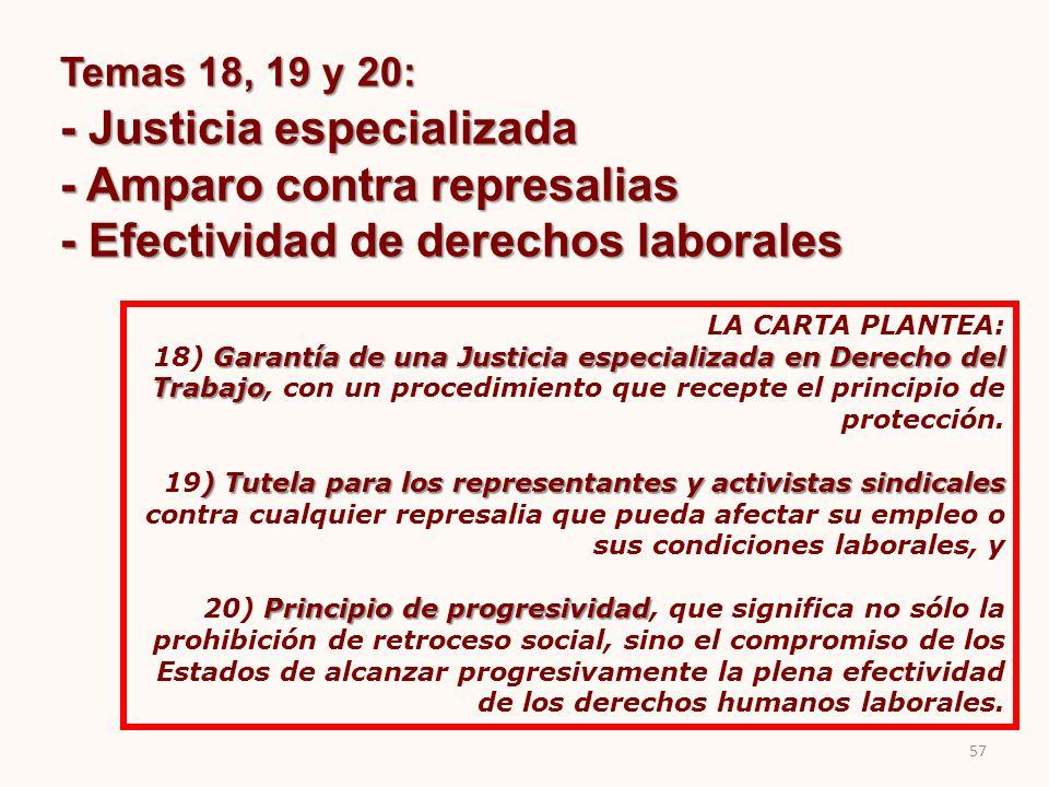 Temas 18, 19 y 20: - Justicia especializada - Amparo contra represalias - Efectividad de derechos laborales LA CARTA PLANTEA: Garantía de una Justicia