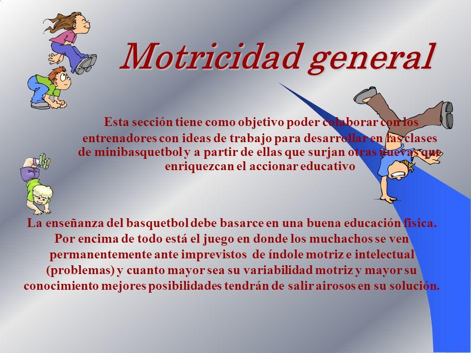 Motricidad general Esta sección tiene como objetivo poder colaborar con los entrenadores con ideas de trabajo para desarrollar en las clases de miniba