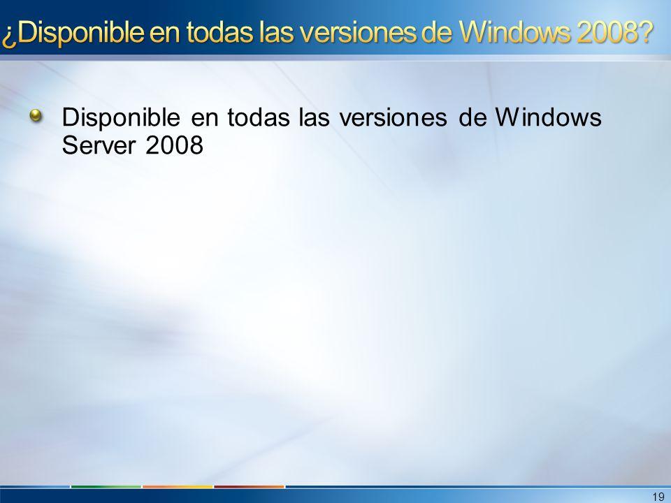 Disponible en todas las versiones de Windows Server 2008 19