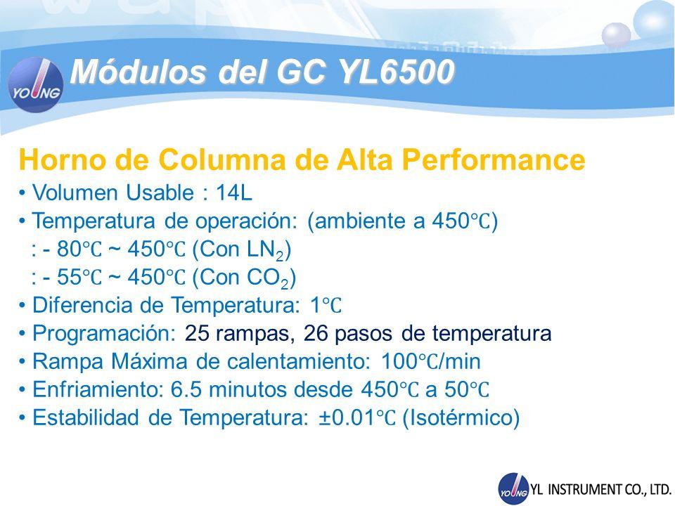 Módulos del GC YL6500 Horno de Columna de Alta Performance Volumen Usable : 14L Temperatura de operación: (ambiente a 450 ) : - 80 ~ 450 (Con LN 2 ) :