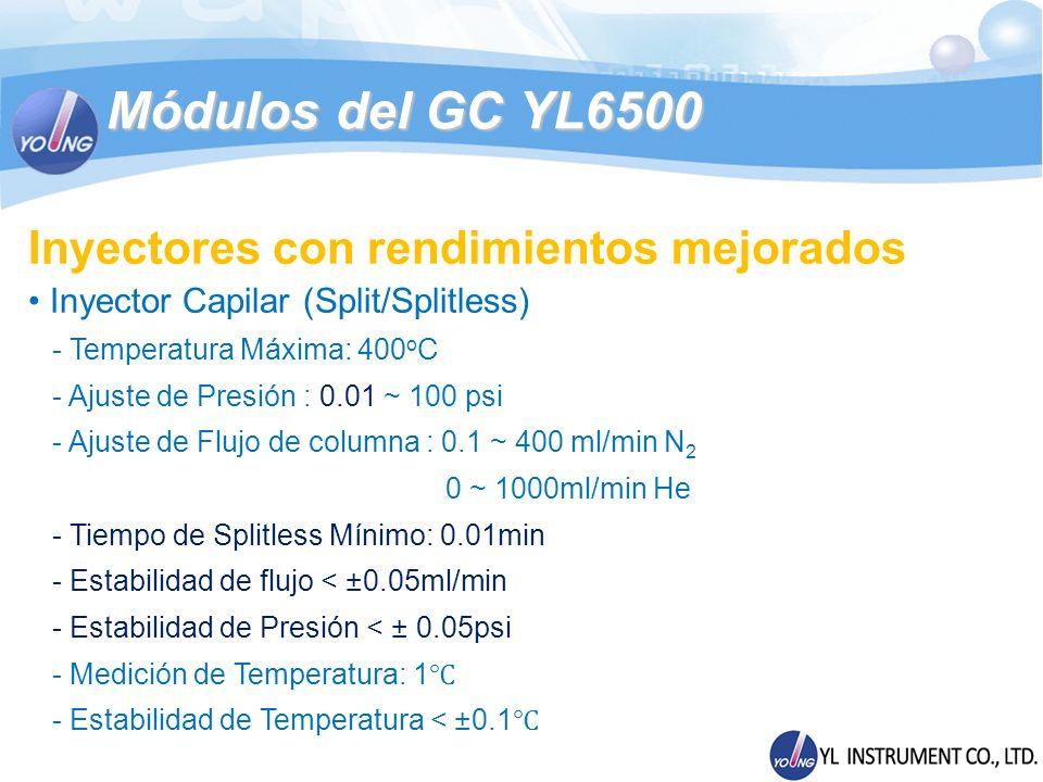 Módulos del GC YL6500 Inyectores con rendimientos mejorados Inyector Capilar (Split/Splitless) - Temperatura Máxima: 400 o C - Ajuste de Presión : 0.0