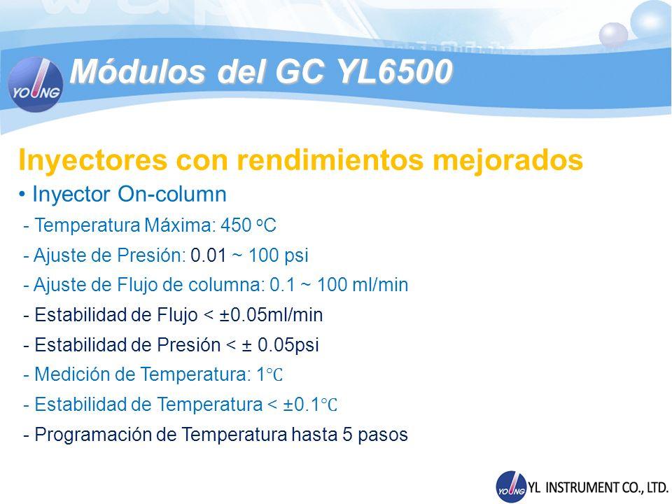 Módulos del GC YL6500 Inyectores con rendimientos mejorados Inyector On-column - Temperatura Máxima: 450 o C - Ajuste de Presión: 0.01 ~ 100 psi - Aju
