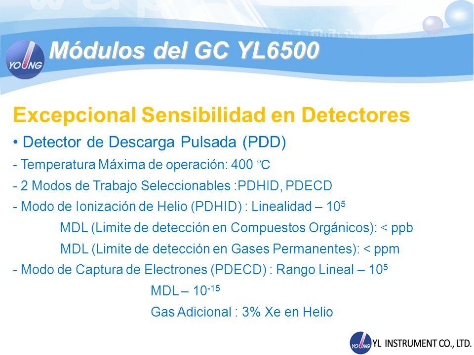Módulos del GC YL6500 Excepcional Sensibilidad en Detectores Detector de Descarga Pulsada (PDD) - Temperatura Máxima de operación: 400 - 2 Modos de Tr