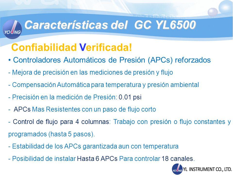 Módulos del GC YL6500 Excepcional Sensibilidad en Detectores Detector de Nitrógeno - Fosforo (NPD – PPD) - Temperatura Máxima: 400 - MDL (Limite de Detección) : <0.4 pg N/sec (Azobenceno) <0.2 pg P/sec (Malation) - Rango Dinámico para N : > 10 4 - Rango Dinámico para P : > 10 4