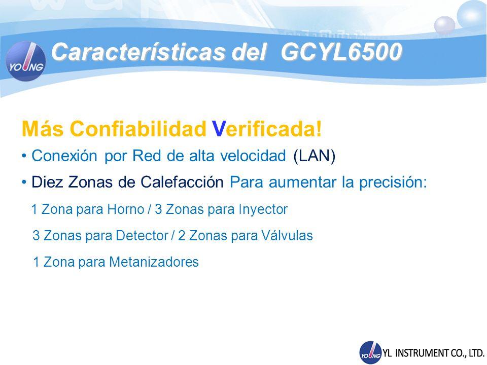 Módulos del GC YL6500 Excepcional Sensibilidad en Detectores Detector Fotométrico de llama (FPD) - Temperatura Máxima de operación: 300 - Limite de detección para S : < 20 pg S/seg - Limite de detección para P : < 0.5 pg P/seg - Rango Dinámico para S : > 10 3 - Rango Dinámico para P : > 10 4 - S/C Selectividad : 10 5 - P/C Selectividad : 10 6
