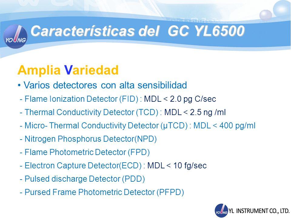 Especificaciones Comparadas YL6500 VS Compañía A YL6500GCA 7890A Número Máximo de Zonas Calentadas 107 Número Máximo de Inyectores 32 Número Máximo de Detectores 33 Número Máximo de Métodos Guardados 205 Número Máximo de Rampas Programadas 25/2620/21 Descenso de temperatura (Horno)6.5 min de 450°C a 50°C4.0 min 450°C a 50°C Limite de Detección FID 2.0 pg carbono/seg como Dodecano (N2 carrier) 1.8 pg Carbono/seg (como Tridecano) Limite de Detección TCD 2.5 ng/ml como Dodecano μTCD : 0.4 ng/ml 0.4 ng/mL c/Tridecano (carrier He) Limite de Detección ECD <10 fg/seg como Lindano<6 fg/mL como Lindano Comparaciones GC YL6500