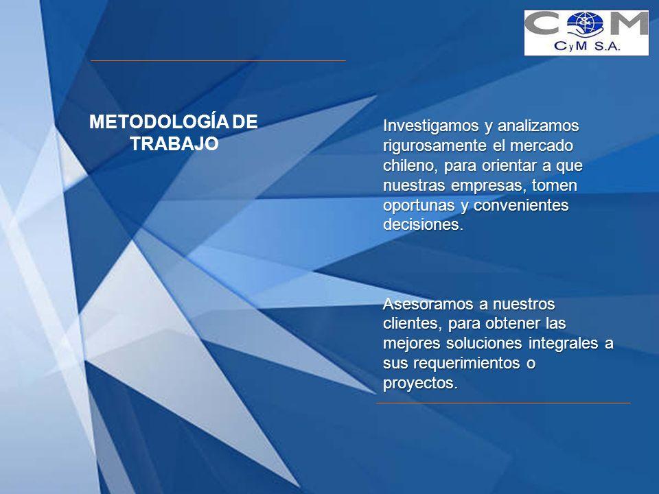 Investigamos y analizamos rigurosamente el mercado chileno, para orientar a que nuestras empresas, tomen oportunas y convenientes decisiones. Asesoram