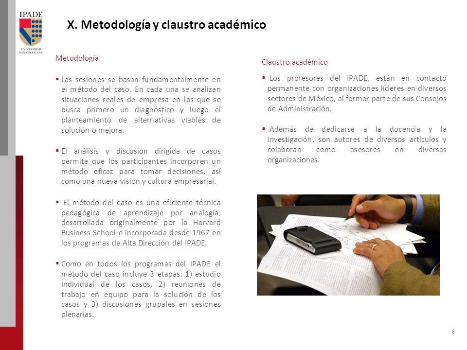 8 Metodología Las sesiones se basan fundamentalmente en el método del caso.