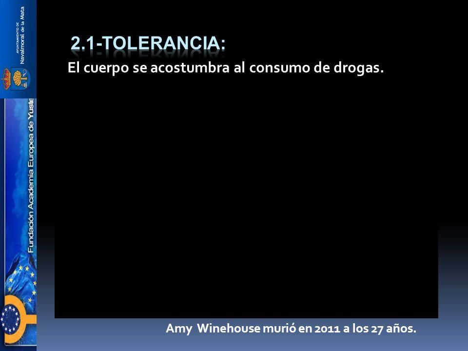 El cuerpo se acostumbra al consumo de drogas. Amy Winehouse murió en 2011 a los 27 años.