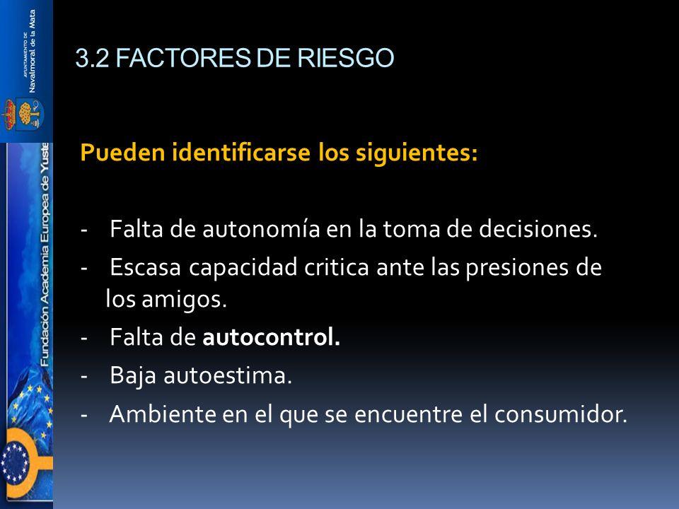 3.2 FACTORES DE RIESGO Pueden identificarse los siguientes: - Falta de autonomía en la toma de decisiones. - Escasa capacidad critica ante las presion