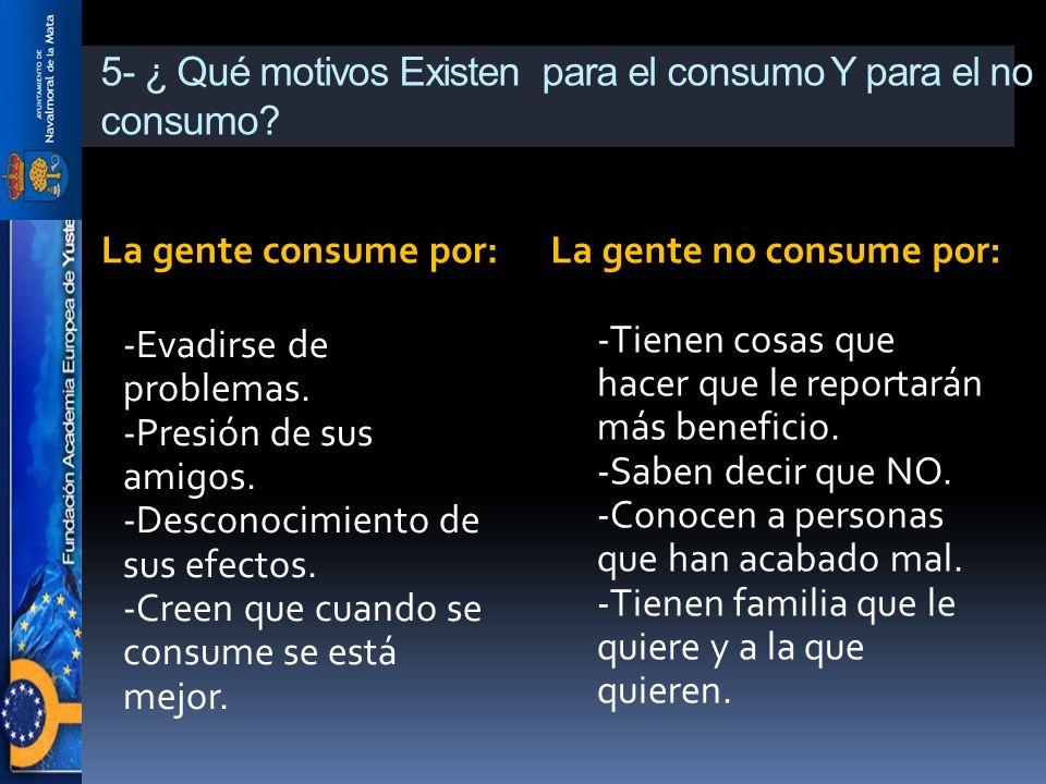5- ¿ Qué motivos Existen para el consumo Y para el no consumo? La gente consume por:La gente no consume por: -Evadirse de problemas. -Presión de sus a