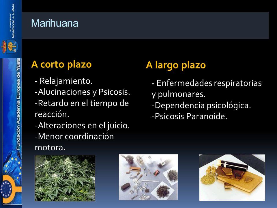 Marihuana A corto plazo A largo plazo - Relajamiento. -Alucinaciones y Psicosis. -Retardo en el tiempo de reacción. -Alteraciones en el juicio. -Menor