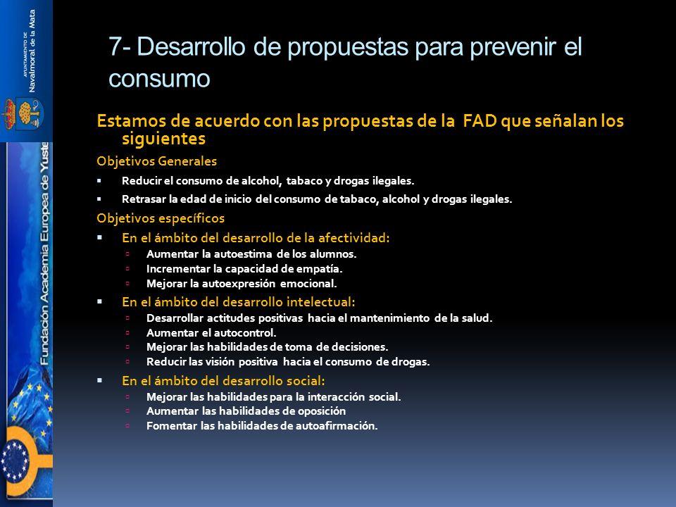 7- Desarrollo de propuestas para prevenir el consumo Estamos de acuerdo con las propuestas de la FAD que señalan los siguientes Objetivos Generales Reducir el consumo de alcohol, tabaco y drogas ilegales.
