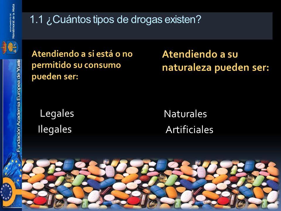1.1 ¿Cuántos tipos de drogas existen? Atendiendo a si está o no permitido su consumo pueden ser: Atendiendo a su naturaleza pueden ser: Legales Ilegal