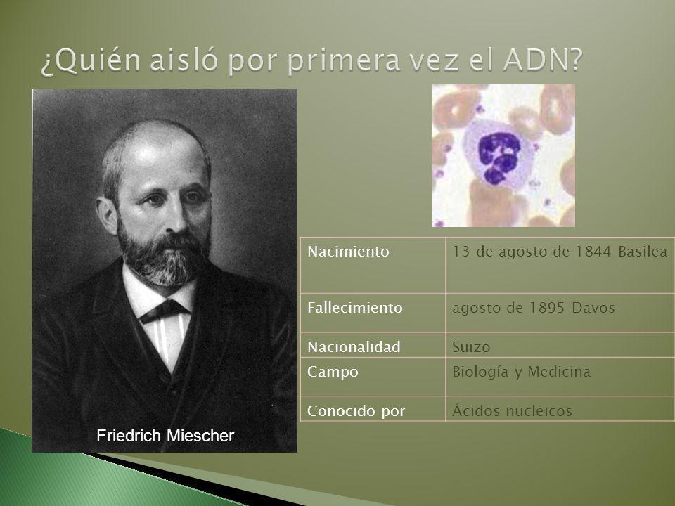 Nacimiento13 de agosto de 1844 Basilea Fallecimientoagosto de 1895 Davos NacionalidadSuizo CampoBiología y Medicina Conocido porÁcidos nucleicos Friedrich Miescher