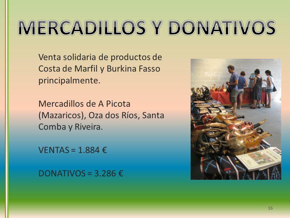 16 Venta solidaria de productos de Costa de Marfil y Burkina Fasso principalmente. Mercadillos de A Picota (Mazaricos), Oza dos Ríos, Santa Comba y Ri