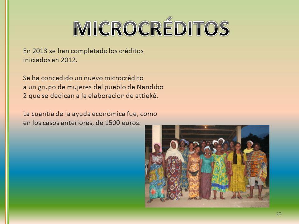 20 En 2013 se han completado los créditos iniciados en 2012. Se ha concedido un nuevo microcrédito a un grupo de mujeres del pueblo de Nandibo 2 que s