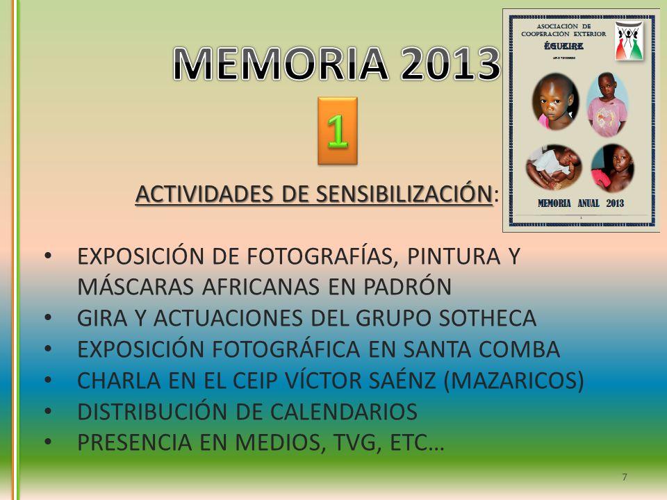 ACTIVIDADES DE SENSIBILIZACIÓN ACTIVIDADES DE SENSIBILIZACIÓN: EXPOSICIÓN DE FOTOGRAFÍAS, PINTURA Y MÁSCARAS AFRICANAS EN PADRÓN GIRA Y ACTUACIONES DE