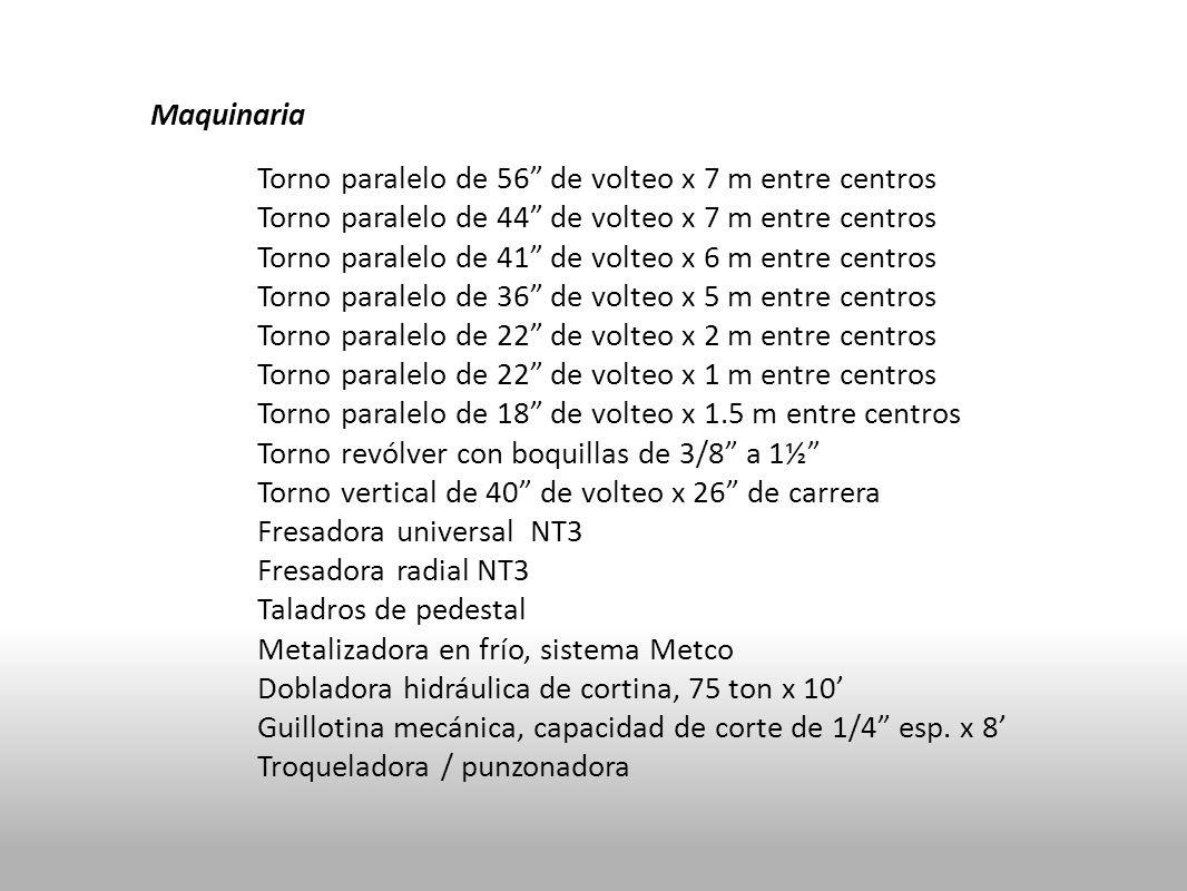 Maquinaria Torno paralelo de 56 de volteo x 7 m entre centros Torno paralelo de 44 de volteo x 7 m entre centros Torno paralelo de 41 de volteo x 6 m