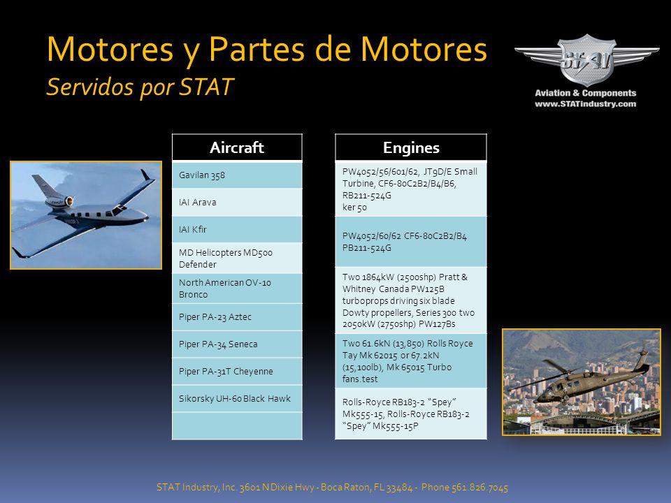STAT Industry, Inc. 3601 N Dixie Hwy - Boca Raton, FL 33484 - Phone 561.826.7045 Motores y Partes de Motores Servidos por STAT Aircraft Cessna 208 Car