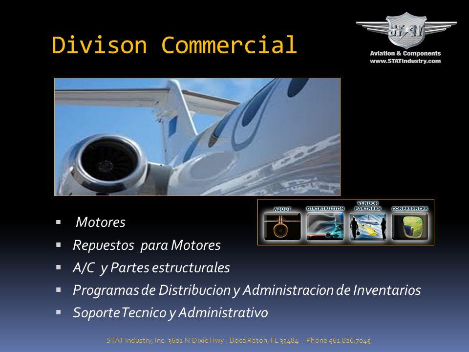 Division Militar STAT Industry, Inc. 3601 N Dixie Hwy - Boca Raton, FL 33484 - Phone 561.826.7045 Motores de Aviones, Componentes y partes estructural