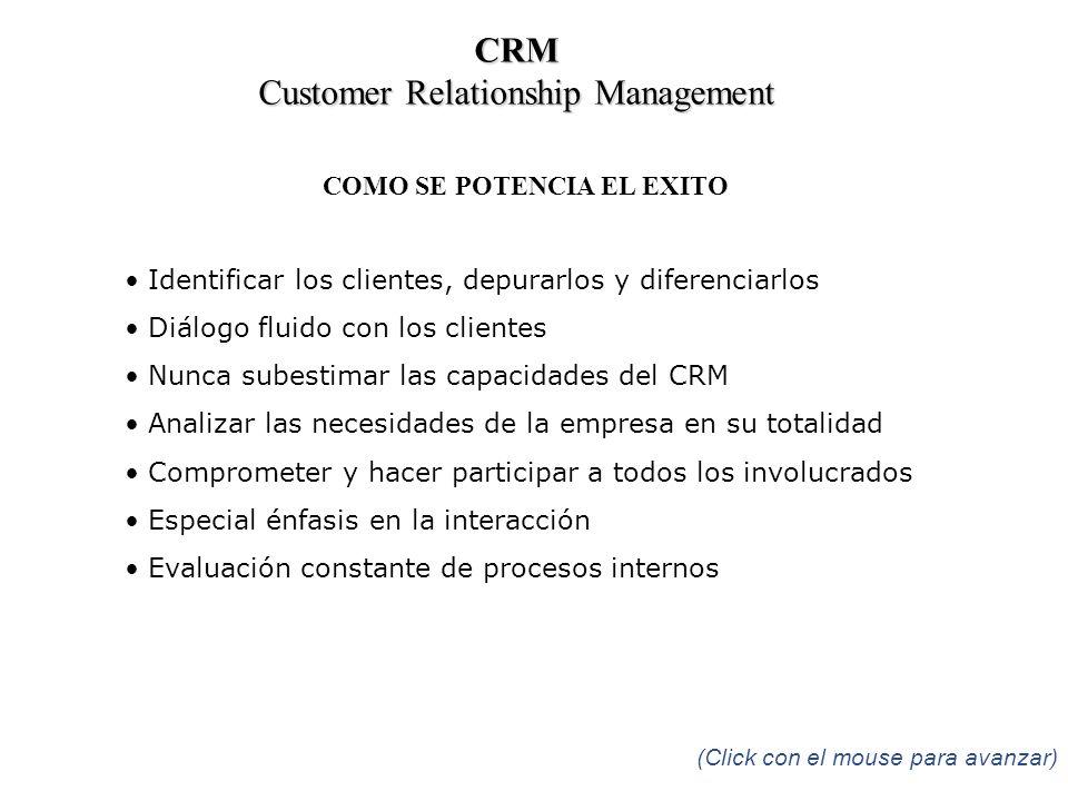 COMO SE POTENCIA EL EXITO Identificar los clientes, depurarlos y diferenciarlos Diálogo fluido con los clientes Nunca subestimar las capacidades del C