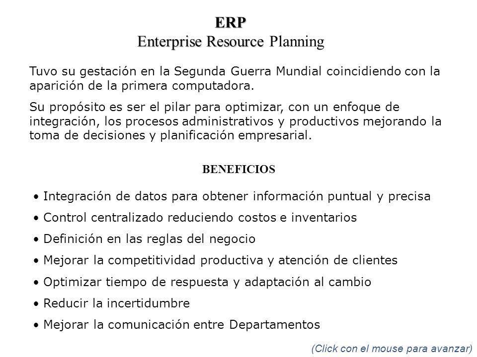 ERP Enterprise Resource Enterprise Resource Planning Tuvo su gestación en la Segunda Guerra Mundial coincidiendo con la aparición de la primera comput