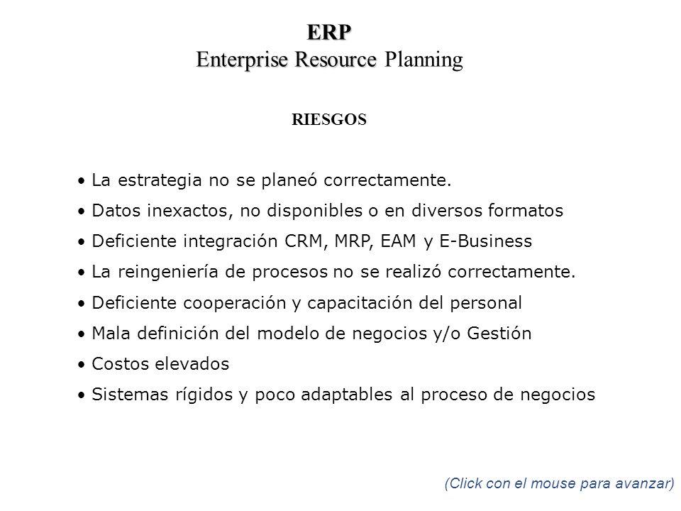 RIESGOS La estrategia no se planeó correctamente. Datos inexactos, no disponibles o en diversos formatos Deficiente integración CRM, MRP, EAM y E-Busi