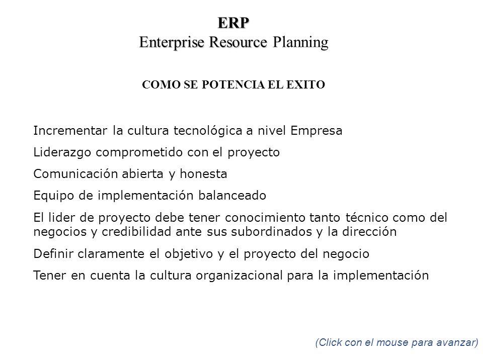 COMO SE POTENCIA EL EXITO Incrementar la cultura tecnológica a nivel Empresa Liderazgo comprometido con el proyecto Comunicación abierta y honesta Equ