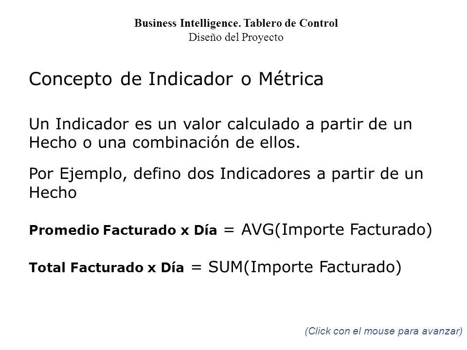 Concepto de Indicador o Métrica Un Indicador es un valor calculado a partir de un Hecho o una combinación de ellos. Por Ejemplo, defino dos Indicadore