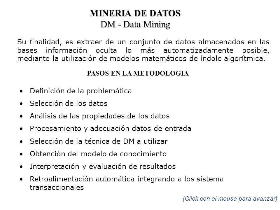 MINERIA DE DATOS DM - Data Mining Su finalidad, es extraer de un conjunto de datos almacenados en las bases información oculta lo más automatizadament