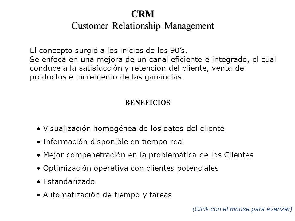 CRM Customer Relationship Management El concepto surgió a los inicios de los 90s. Se enfoca en una mejora de un canal eficiente e integrado, el cual c