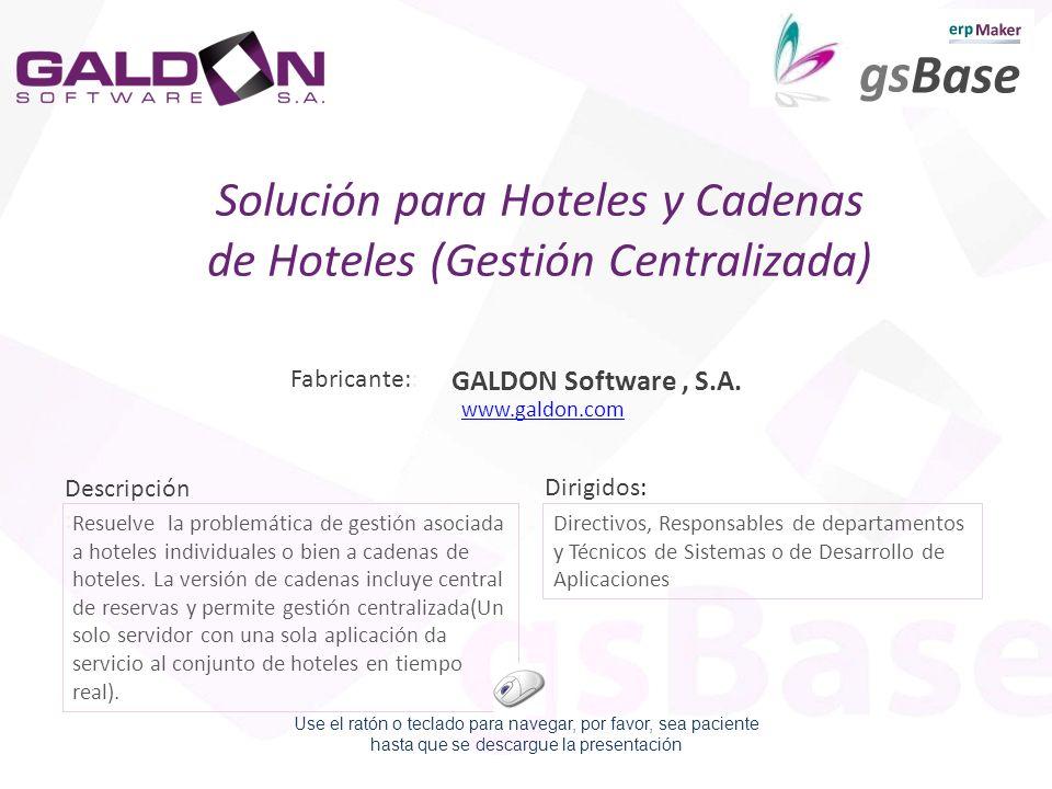 Descripción : Dirigidos: Resuelve la problemática de gestión asociada a hoteles individuales o bien a cadenas de hoteles. La versión de cadenas incluy