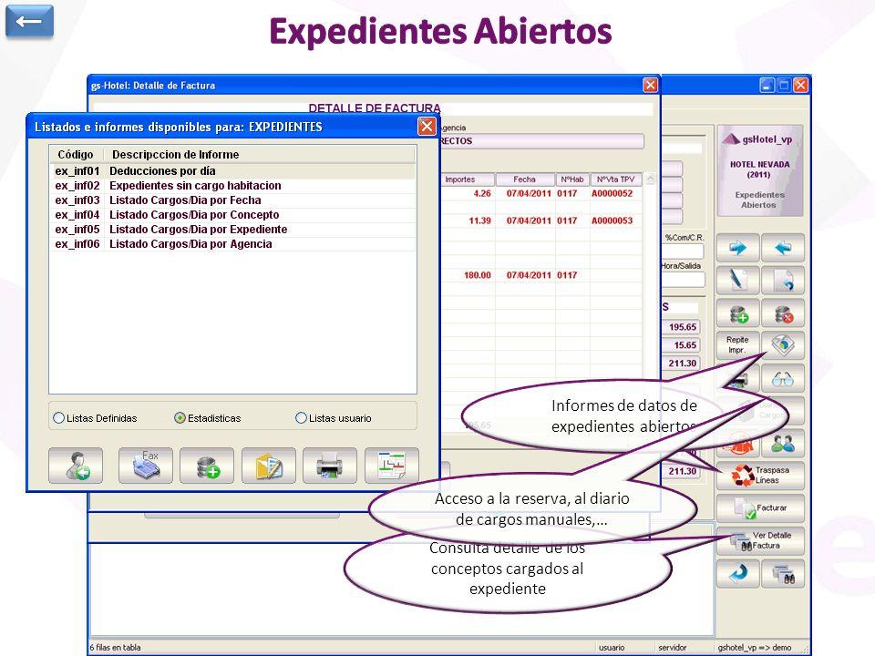 Expedientes Abiertos. Se genera automáticamente al realizar check-in reserva o expedientes de extras que se generan al realizar cargos a una determina