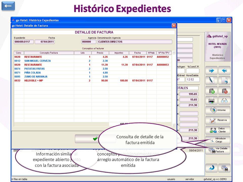 Histórico Expedientes: Información similar al expediente abierto junto con la factura asociada Se pueden añadir/eliminar/modificar conceptos provision