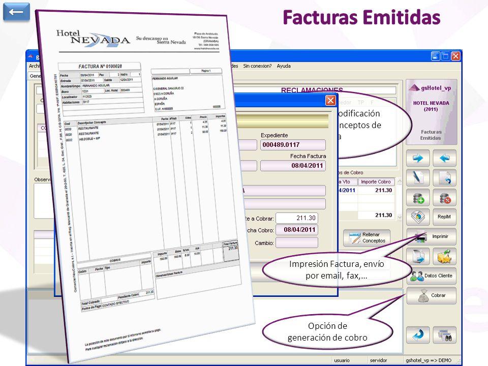 Registro de Facturas Emitidas: Datos de Cabecera de la factura Conceptos para caso de facturas manuales o lista de expedientes facturados Desglose de