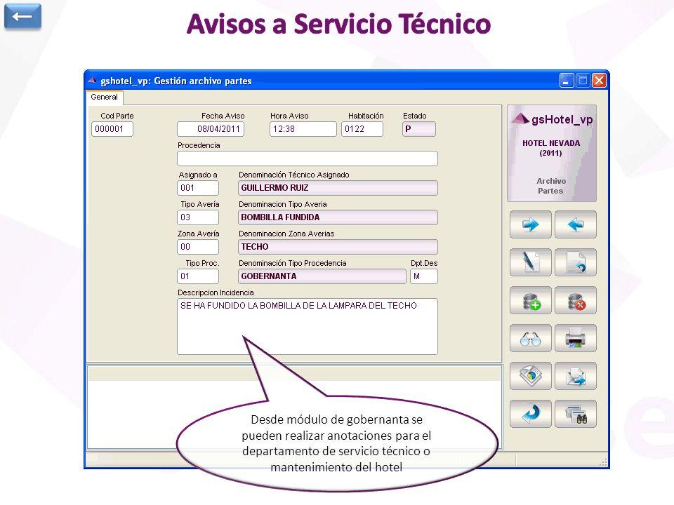Desde módulo de gobernanta se pueden realizar anotaciones para el departamento de servicio técnico o mantenimiento del hotel