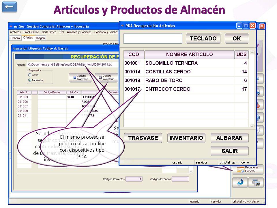 Artículos de economato o materias primas. Información general y precios de compra Stock en cada uno de los almacenes (se podría trabajar con la parte