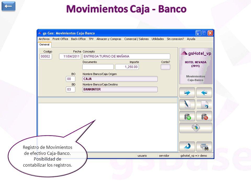 Registro de Movimientos de efectivo Caja-Banco. Posibilidad de contabilizar los registros.