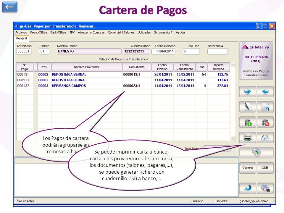 Cartera de Pagos a Proveedores: Datos de cabecera Listado de Facturas canceladas con el pago Situación Actual del Pago Posibilidad de agrupar pagos, i
