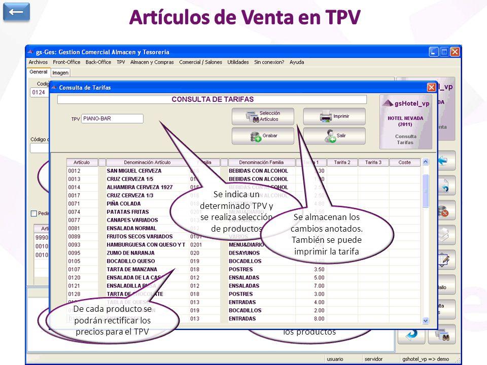 Fichero de Artículos elaborados o de venta de TPV Información genérica, precios, imagen,… Precios en función de cada TPV Escandallo de materias primas