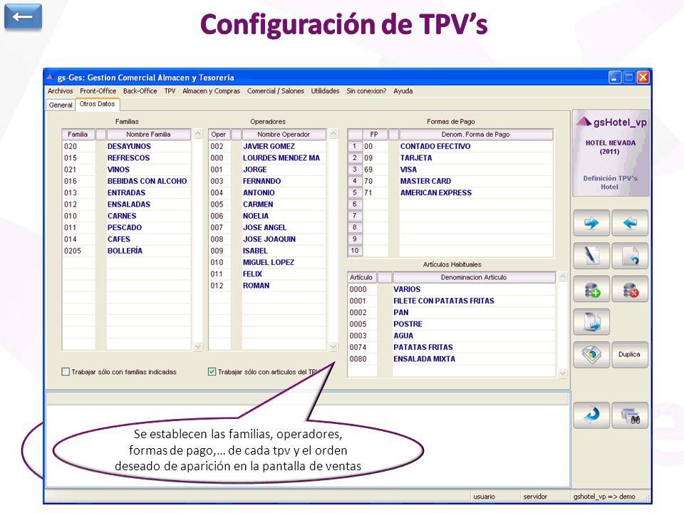 Se pueden generar tantos TPVs como se desee. Cada uno tiene su configuración particular Se establecen las familias, operadores, formas de pago,… de ca