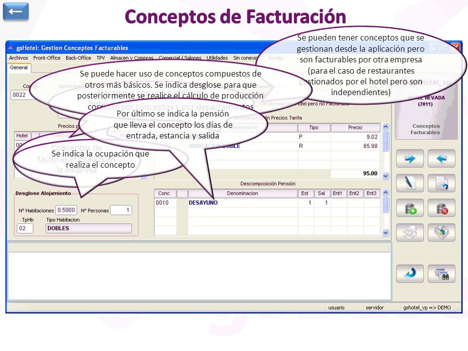 Conceptos de facturas utilizados en la empresa Se pueden tener conceptos que se gestionan desde la aplicación pero son facturables por otra empresa (p