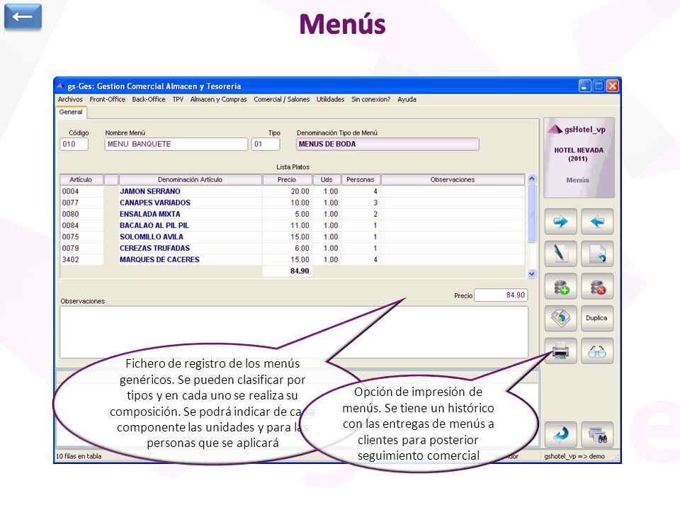 Fichero de registro de los menús genéricos. Se pueden clasificar por tipos y en cada uno se realiza su composición. Se podrá indicar de cada component