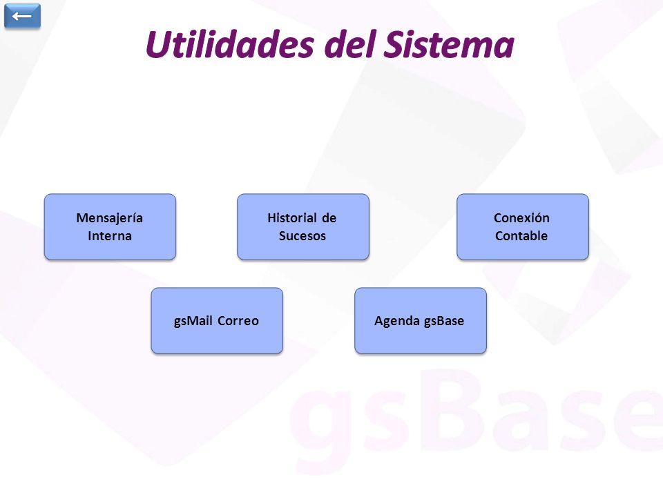 Mensajería Interna Mensajería Interna Historial de Sucesos Historial de Sucesos Conexión Contable Conexión Contable Agenda gsBase gsMail Correo